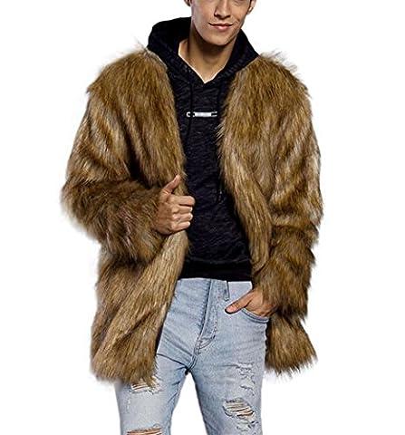Männer Pelzjacke Bekleidung Hirolan Hoodie Herren kapuzenpullover Männer Winter Warm Oberbekleidung Lange Hülse Mantel Mode Fellimitat Braun Jacke Mantel (S, Braun)