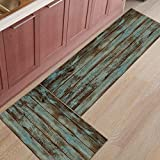 Jhdhvrfr Non-Slip Kitchen Mat Doormat Rug Set, Wood Grain Runner Carpet Set - 15.7X23.6