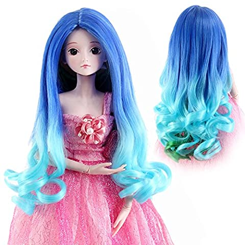 Stfantasy American Girl Doll Wigs Long Straight Curly Heat Resistant Synthetic Hair 16 Inch 150g Ombre Wig Peluca, Blue to Turquoise