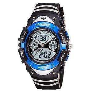 Kinder Armbanduhr Jungen, Kinderuhr Digital Analog Kalender Alarm Chronograph 3ATM Wasserdicht Blaue Silikon Lernuhr PSE308-GA