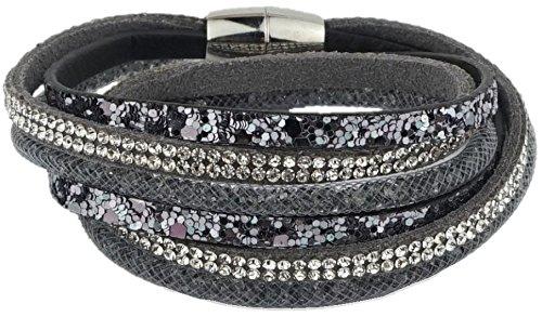 ♡ Dein täglicher Begleiter - Dieses modische Armband macht jedes deiner Outfits zum Highlight ♡ Armkettchen | Armband | Wickelarmband | Armreif | Damen | Women | grau (Grau, Highlights)
