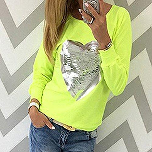 Juleya Donna Manica Lunga Camicetta - Moda Modello di Cuore Paillettes Maglietta con Colletto Rotondo Elegante Primavera Autunno Casuale Cotone Tops Camicia S-5XL Verde