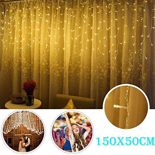 TianranRT LED Fenster Vorhang Eiszapfen Schnur Fee Lichter Hochzeit Party Weihnachten Dekor (Gelb)