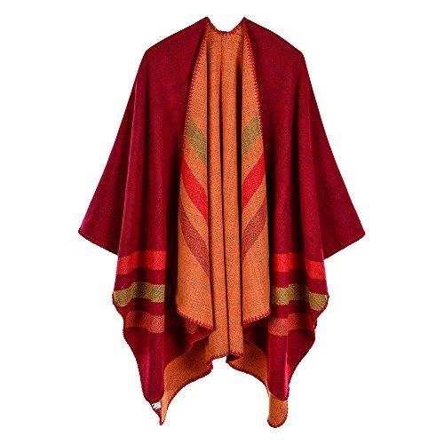 Trim Knit Cardigan (ZUZHEN Women es Shawl Golden Trim Knit Blanket Wrap Fringe Poncho Coat Cardigan,C)