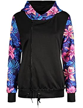AILIENT Hipster Mujer Hoodie Chaqueta Sexy Manga Larga Patchwork Flores Elegante Jacket Hipster Top Sudaderas...