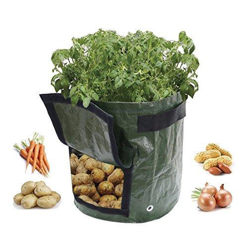 Skyoo Sac de plantation, 10 Gallon Jardin de pomme de terre de croissance Sacs avec rabat et poignées, aération Tissu Pots Heavy Duty Parfait pour les légumes, comme de la pomme de terre, Carotte, Tomate,, etc., Lot de 2
