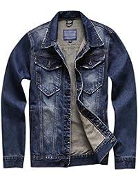 Tookang Hombres Clásico Chaqueta de Vaquera Denim Trucker Jacket Outwear Mezclilla Chaquetas