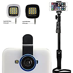 Shopizone Yunteng YT 1228 Bluetooth Selfie Stick with *3 In 1 Mobile Camera Lens* and *Mini Selfie Flash Light* Combo For Apple and Android Smartphones
