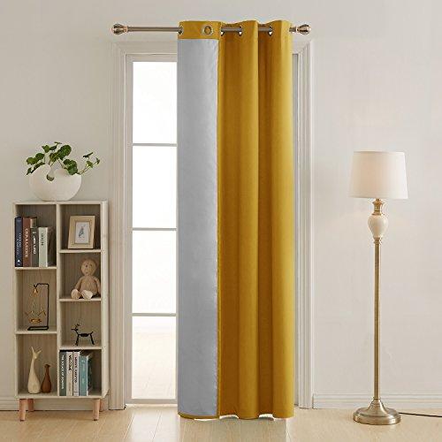 Deconovo tenda termica isolante in tessuto oxford con occhielli 140x240cm giallo un pannello