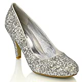 ESSEX GLAM Women's Bridal wedding Low Heel Sparkly Prom Party Court Shoes, Silver Glitter, 3 UK