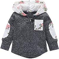 Hawkimin Kleinkind Säuglingsbaby Blumen Hoodie Taschen Sweatshirt Pullover übersteigt warme Kleidung