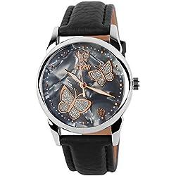 XLORDX Damen Armbanduhr Armreif Kette Schmetterling Quarzuhr Uhr Vintage Elegant Schwarz Leder