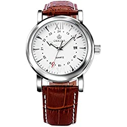 XIGEGA Mens Date Display Genuine Leather Strap Watch Brown Daily Business Wristwatches Gifts