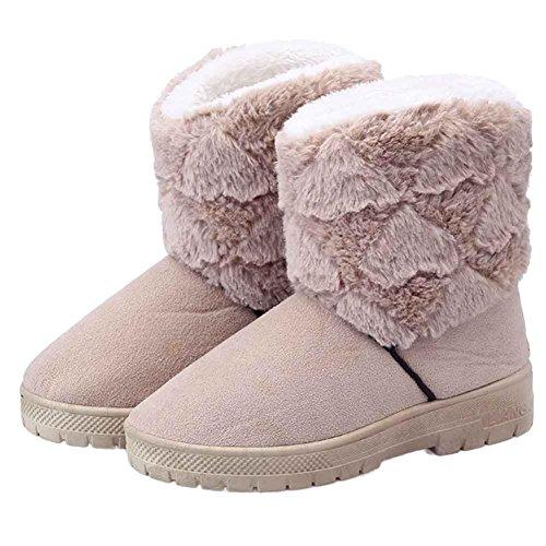 Bottes et boots,Transer® Femmes Filles de fourrure Bottes de neige Flat Martin Bottes hiver Gris