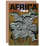 Wee Blue Coo TRAVEL TWA Trans World Africa Zebra USA Birthday BLANK Greetings Card Vereinigte Staaten von Amerika