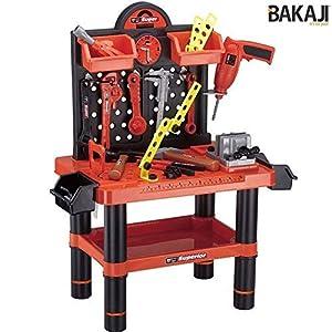 BAKAJI - Banco de Trabajo para niños, Herramientas y Accesorios con Taladro, 54 Piezas, 70 x 51 x 60 cm,, 8050534662313