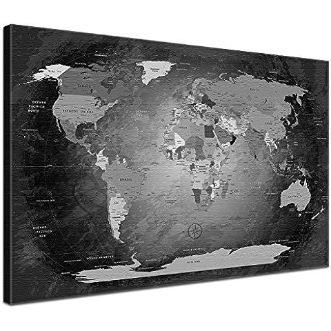 """LanaKK - mapamundi con corcho para fijar los destinos - """"Mapa del mundo EN BLANCO Y NEGRO"""" - Español - Lámina sobre bastidor camilla en negro, enmarcado en una parte de 60 x 40"""