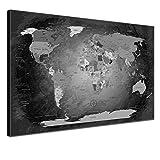 """LANA KK - Weltkarte Leinwandbild mit Korkrückwand Zum pinnen der Reiseziele – """"Worldmap Black and White"""" - Spanisch - Kunstdruck-Pinnwand Globus in Schwarz, Einteilig & fertig gerahmt in 120x80cm"""