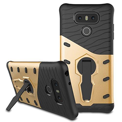 LG G6Fall, mignova Hybrid Schutzhülle Dämpfung Drop-Protection Hard PC Shell und Weiche Silikon Innere Hülle mit Kick Ständer für LG G6Handy, Gold - Gummi-kick