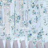 Tongshi 200x100cm Imprimir cortina de puerta de gasa floral ventana Habitación cortina del tabique de la bufanda (Azul)