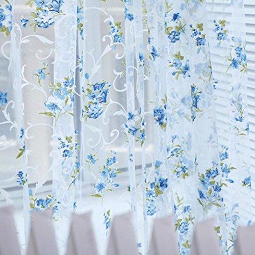 Tongshi 200x100cm Imprimir cortina de puerta de gasa floral ventana Habitación cortina del tabique de la bufanda