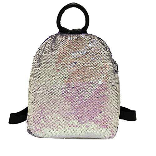 Ledertasche, Schultertasche, Geschenk, Handgefertigte Tasche,Mode damen pailletten große kapazität rucksack farbe ändern wilden rucksack ()