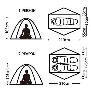 Naturehike Tagar tenda da campeggio ultra leggera 1-2 persona escursioni a piedi (Verde chiaro, 1 persona)