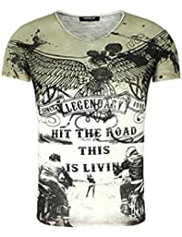 Carisma Homme T-shirt LEGENDARY BUENOS Millésime Regardez Farbverlauf Moto Biker Aigle Imprimer