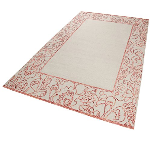 Esprit Home I Handweb Kurzflor Teppich/Läufer aus Wolle für Wohnzimmer, Flur, Schlafzimmer I Kayla Kelim Border ESP-6116-01 | Beige Rot | (160 x 230 cm) -