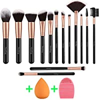 Nestling Makeup Brushes Rose Golden 14 Pcs Makeup Brush Set with Makeup Sponge and Brush Cleaner