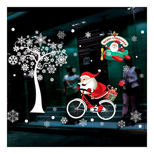 QTZJYLW Christmas Wall Stickers Santa Claus Snowflake Pattern Merry Christmas Home Decoration Shop Window Glass Wall Stickers (73×52Cm)