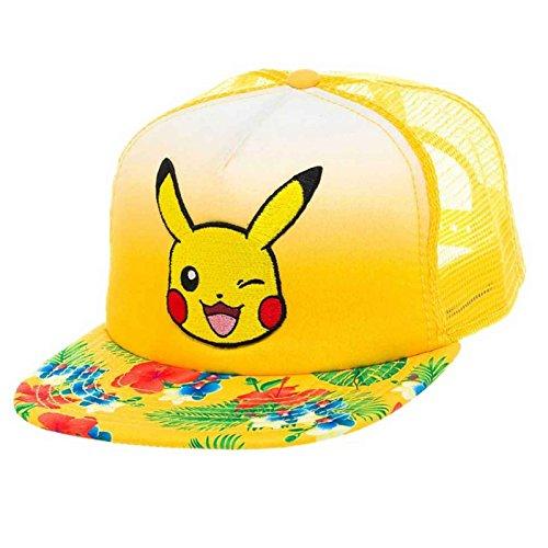 Pokemon Pikachu Winking Face with Floral Pattern Trucker Snapback Baseball Cap, Yellow (BA2BGSPOK)