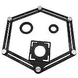 Starnearby Multi Template 6 Klapplinien Messwerkzeug Winkellineal mit Bohrerführungsglasplatten Holzbearbeitungsmesser