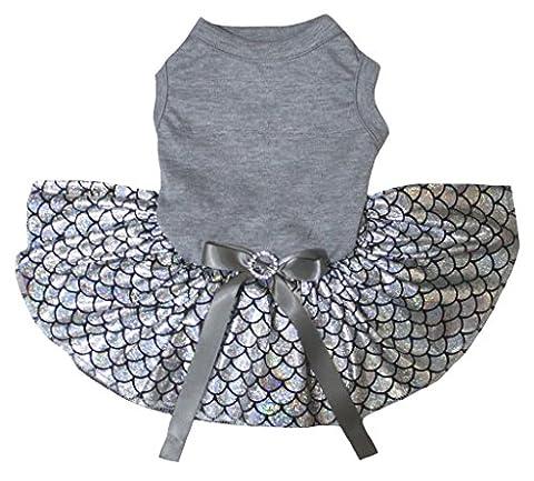 petitebelle Uni Grau Baumwolle Shirt Bling Silber Fisch Waage Mermaid