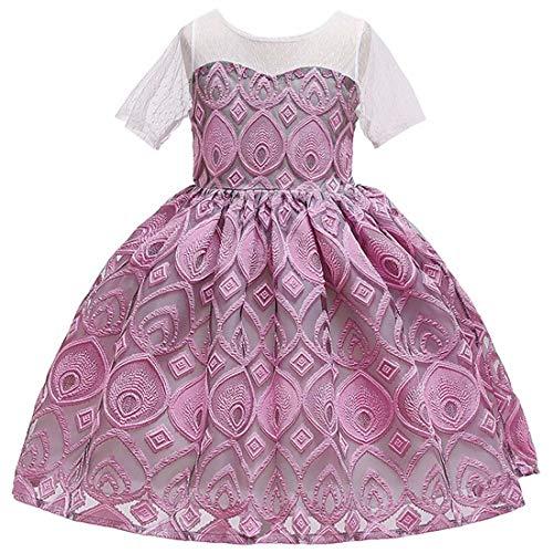 Sunny Andy Kleidchen für mädchen Party Kleider mädchen mädchenmode anlässe Kinder blumenmädchenkleide Hochzeit Kleider (Dusty Rose, 130) -