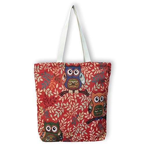 Eule Eulen Tasche Shopper Strandtasche mit Reißverschluss ***verschiedene Motive erhältlich*** Eulenmotiv Shopping bag Umhängetasche Beuteltasche - VINTAGE LOOK / absolut cool und stylish - 42315