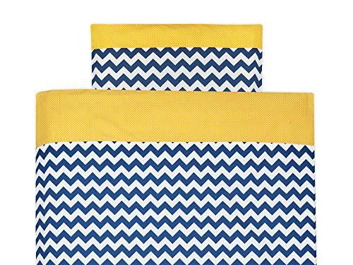 KraftKids Bettwäsche-Set weiße Punkte auf Gelb Chevron dunkelblau aus Kopfkissen 40 x 60 cm und Bettdecke 135 x 100 cm, Bettbezug aus Baumwolle, handgearbeitete Bettwäsche gefertigt in der EU - Baby-bettwäsche-sets Chevron