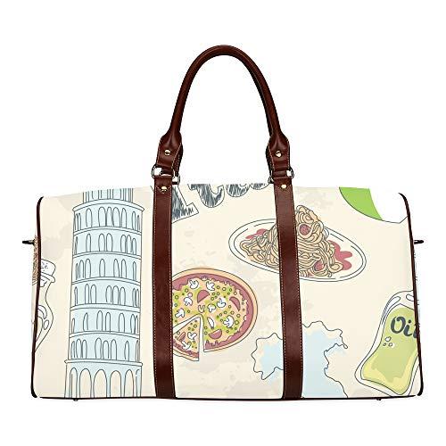 Reisetasche Italien Symbol Wahrzeichen Schiefer Turm wasserdichte Reisetasche Reisetasche Frauen Damen Einkaufstasche Mit Mikrofaser Leder Gepäcktasche