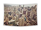 Wall Tapestry for Bedroom Hanging Art Decor College Dorm Bohemian, Aerial View of Chicago Downtown, 60x51