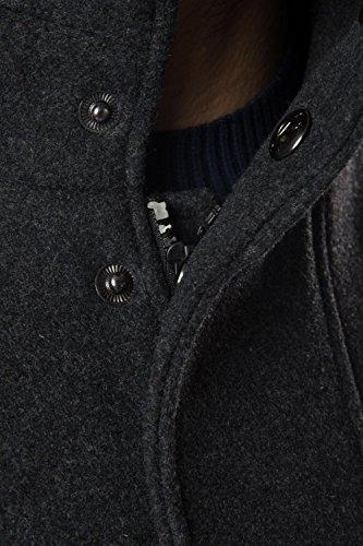 Threadbare Herren Wollmischung Jacke Kragen Power Utility Mantel Anthrazit