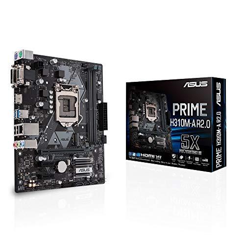 Asus PRIME H310M-A R2.0 Scheda Madre Standard, Intel LGA-1151 mATX, DDR4 2666MHz, SATA 6Gbps e USB 3.1, RAM 2 x DIMM, Massimo 32 GB, Nero