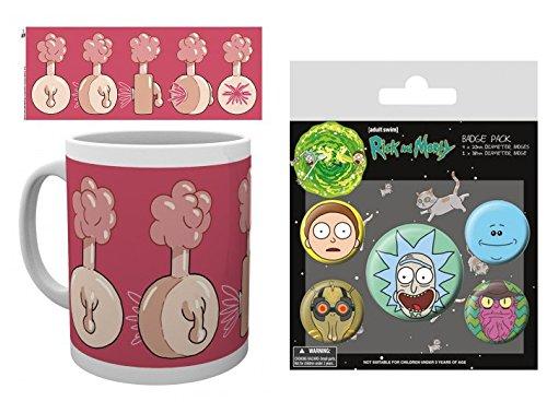 Set: Rick Y Morty, Plumbus Taza Foto (9x8 cm) Y 1 Rick Y Morty, Set De Chapas (15x10 cm)