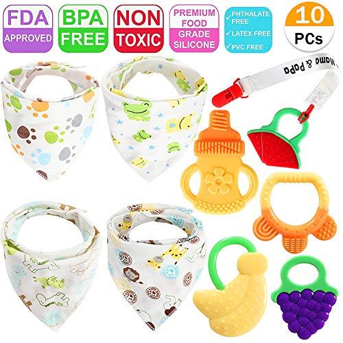 4 Pack Baby Bandana Drool Lätzchen 5 Pack Baby Kinderkrankheiten Spielzeug mit Schnuller Clip Snaps Weiche Silikon Natürliche Frucht Beißringe Set - Baby Bandana-lätzchen Für