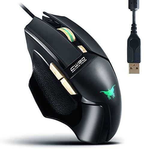 AOSO CW90 Mouse da Gioco 20 Milioni Key Vita USB Mouse cablato adatto ai Combaterwing Genuine 3800 DPI sensore ottico a 4 colori Effetto della luce Anti-Slip laterale design ergonomico Forma per PC