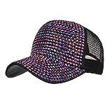 BURFLY Damen Casual Strass Cap, Frauen-Strass-Hüte weiße Baseballmütze Bling Diamond Hat (Lila)