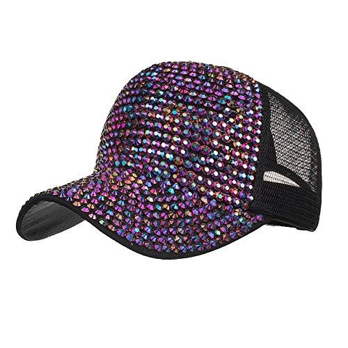 Jungen Michael Kostüm St - BURFLY Damen Casual Strass Cap, Frauen-Strass-Hüte weiße Baseballmütze Bling Diamond Hat (Lila)