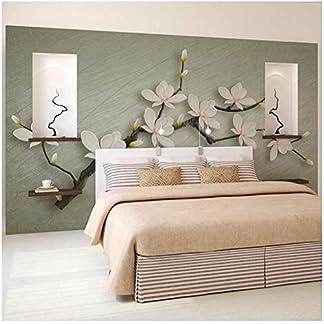 BNUIBOIUZ Papel Pintado Estilo Chino Flor Romántica Mural 3D Sala De Matrimonio Dormitorio Sala De Estar No Tejido Mural De Papel Impreso @ 200 * 140 Cm