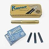 Kaweco Sport Füller Messing | Federstärke M | Set mit 12 blauen Tintenpatronen GRATIS