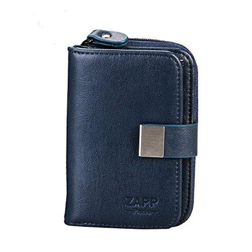 ZAPP Marke – Multifunktion Schlüsseletui aus echtem Leder (Farbe: blau); 6 Schlüsselhaken und 6 Innenfächer: Münztasche und Kreditkarte/Tickets. (Damen Brieftasche Geldbörse Französisch)