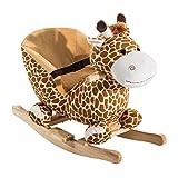 HOMCOM Schaukelpferd Schaukeltier Schaukelspielzeug Babyschaukel Spielzeug Kinder Lieder L60 x B33 x H45 cm
